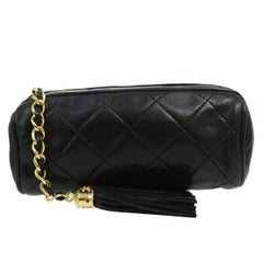 Chanel Black Leather Small Party Evening Barrel Clutch Bag in Box