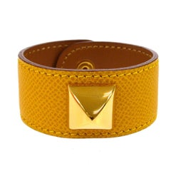 Hermes Mustard Leather Gold Stud Men's Women's Evening Cuff Bracelet in Box