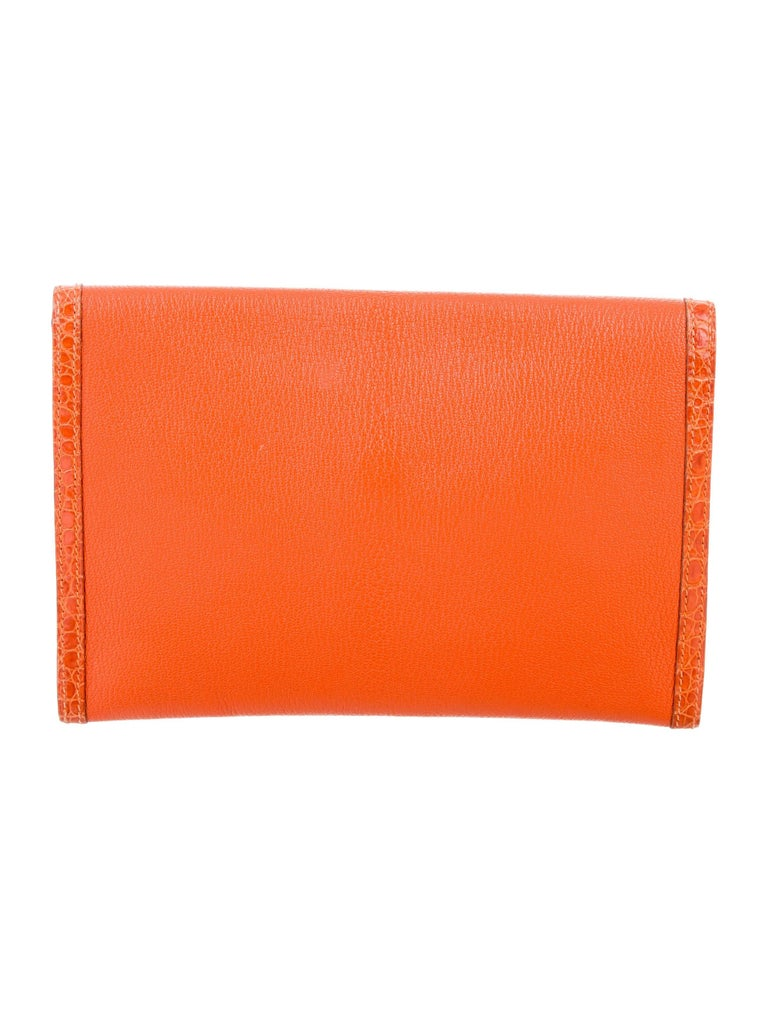 Red Hermes Orange Leather Crocodile Trim Envelope Evening Clutch Flap Bag For Sale