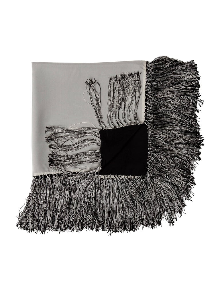 Black Chanel Throw Pillow : Chanel Silk Black Gray Fringe Tassel Couch Chair Home Decor Throw Blanket For Sale at 1stdibs