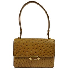 Hermes Ostrich Cognac Evening Top Handle Satchel Kelly Flap Shoulder Bag in Box