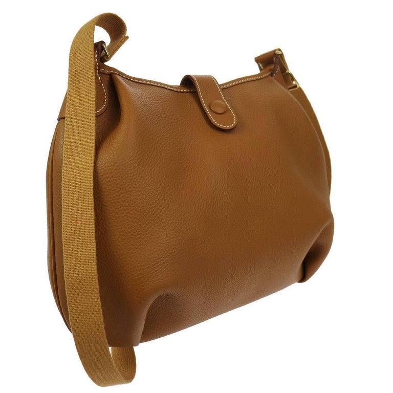 ef53385307a7 Brown Hermes Cognac Leather H Men s Women s Carryall Messenger Crossbody  Shoulder Bag ...