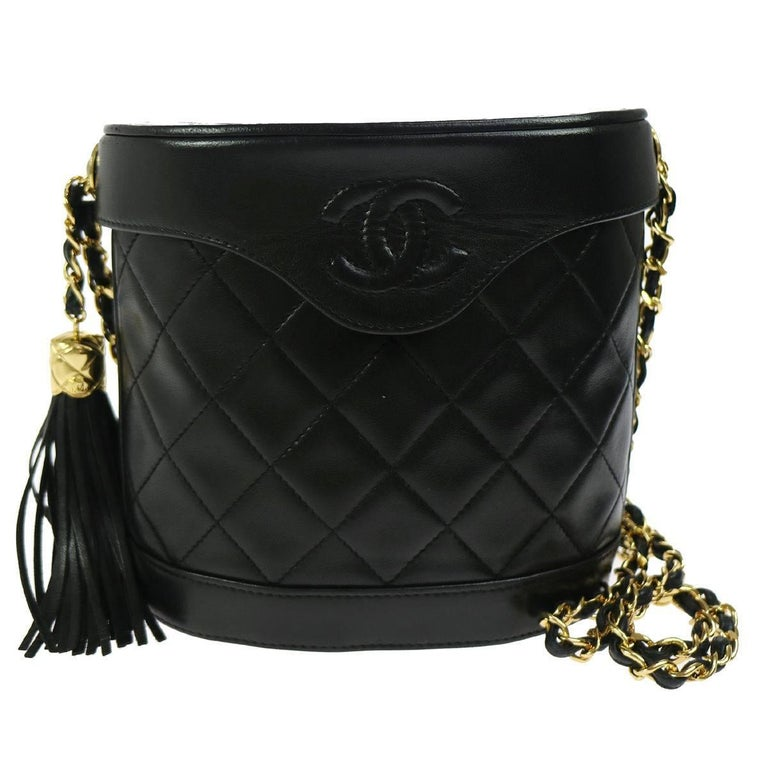 Chanel Black Leather Gold Party Evening Flip Bucket Shoulder Flap Bag