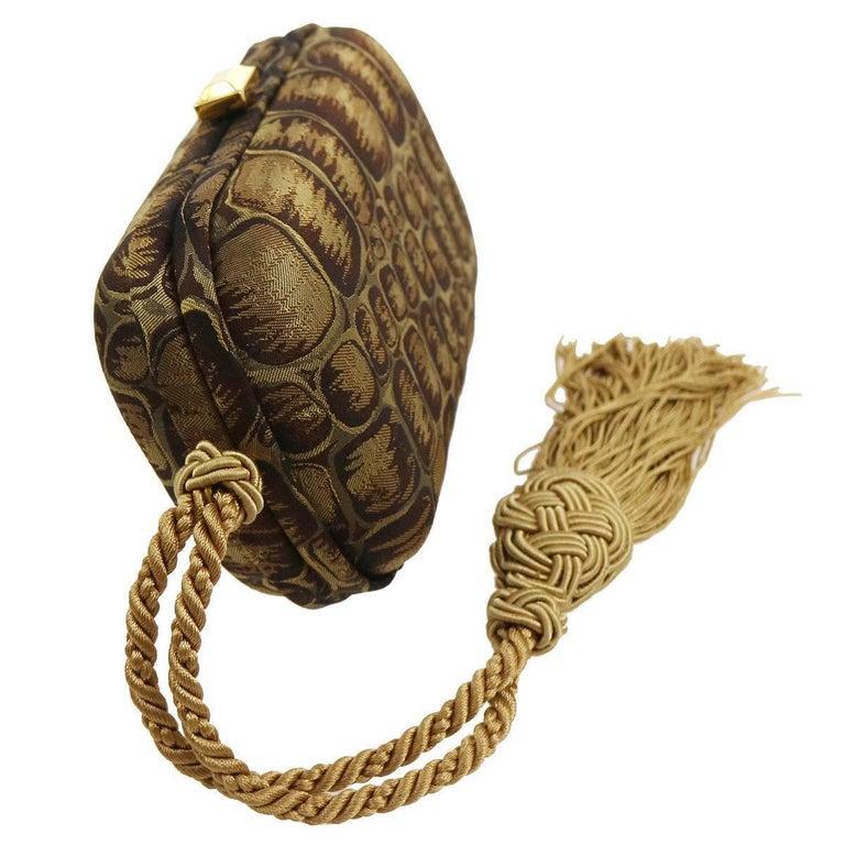 BOttega Veneta Brown Gold Canvas Snakeprint Tassel Evening Clutch Bag In Excellent Condition For Sale In Chicago, IL