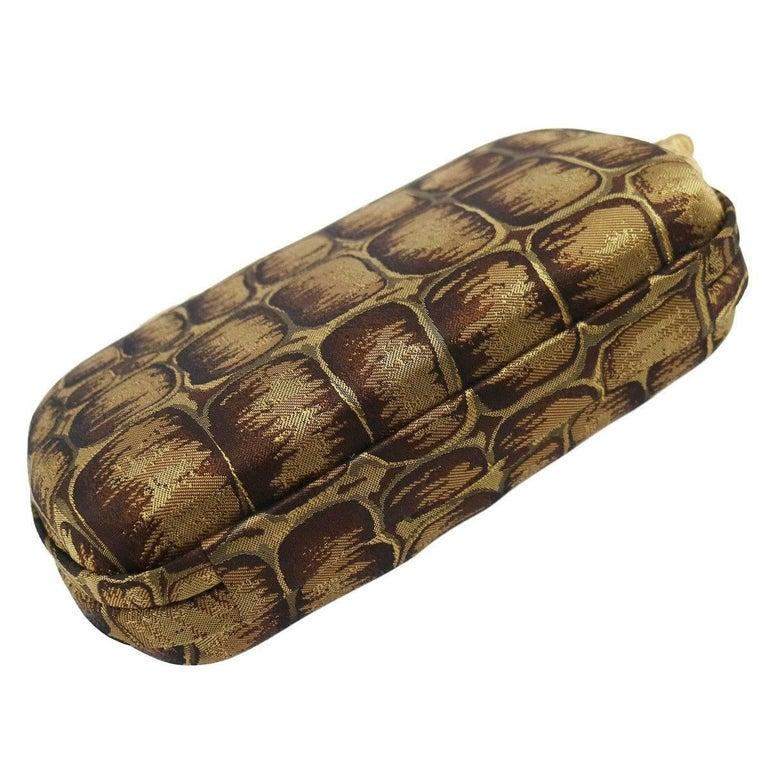 Women's BOttega Veneta Brown Gold Canvas Snakeprint Tassel Evening Clutch Bag For Sale