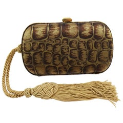 BOttega Veneta Brown Gold Canvas Snakeprint Tassel Evening Clutch Bag