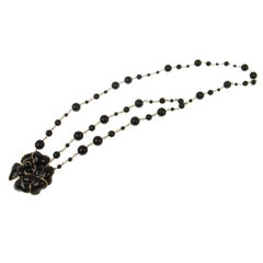 Chanel Black Gold Charm Flower Beaded Evening Waist Belt