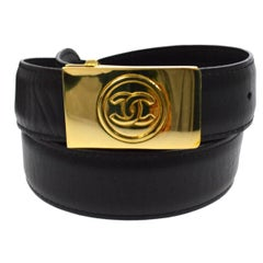 Chanel Black Leather Gold Buckle Charm Evening Waist Belt in Box