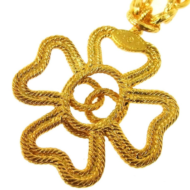 Women's Chanel Gold Textured Multi Cross Charm Drape Drop Evening Pendant Necklace For Sale