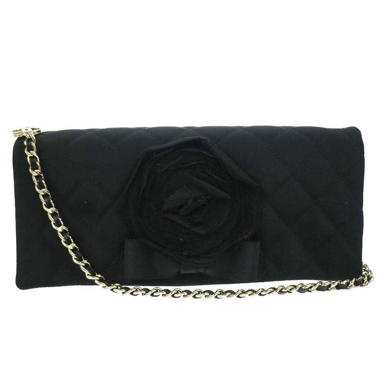 Chanel Black Organza Flower Envelope Evening Clutch Top Handle Shoulder Flap Bag