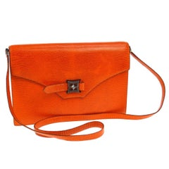 Hermes Limited Edition Lizard Leather Envelope Evening Clutch Shoulder Flap Bag