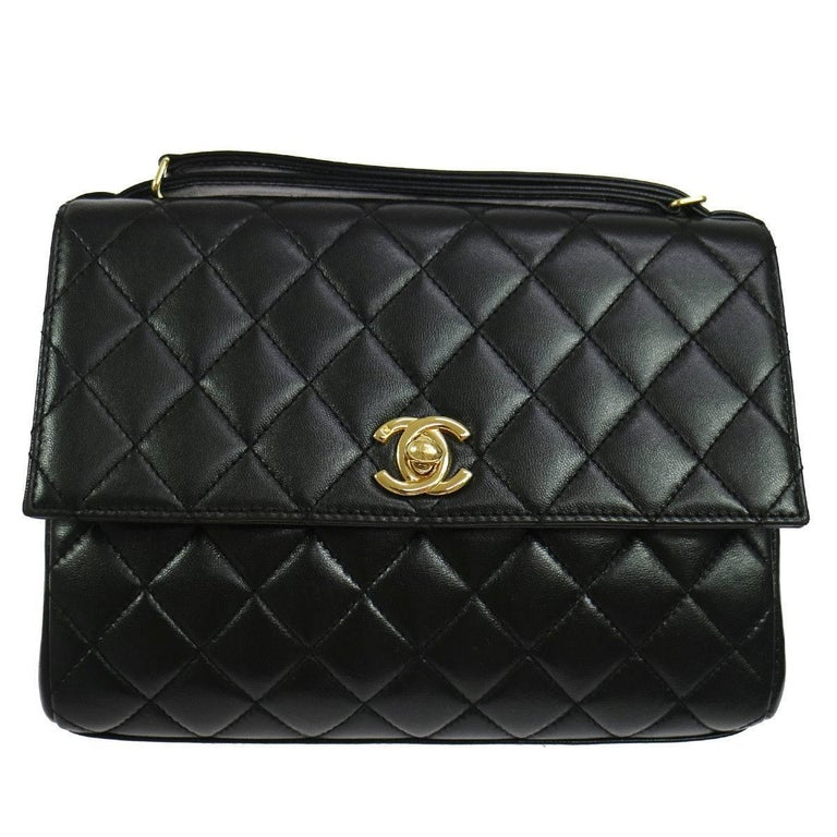 Chanel Black Lamb Gold Evening Kelly Top Handle Satchel Flap Bag W/Accessories