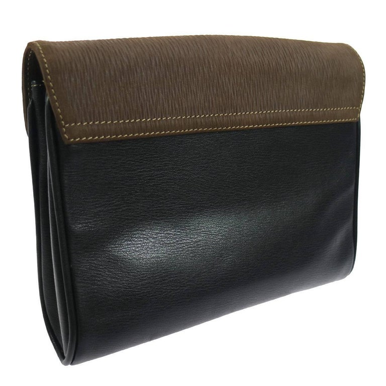 Loewe Brown Black Leather Gold Evening Envelope Clutch Bag Tone Hardware Twill Lining Made