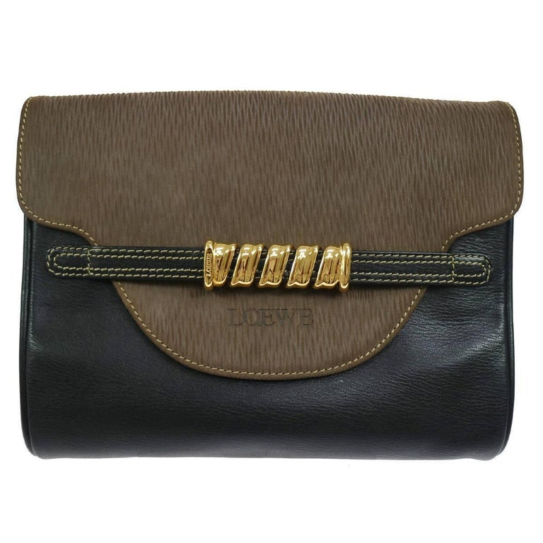Loewe Brown Black Leather Gold Evening Envelope Clutch Bag