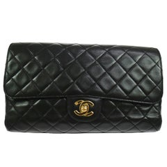 Chanel Black Lambskin Gold Top Handle Envelope Evening Clutch Flap Bag