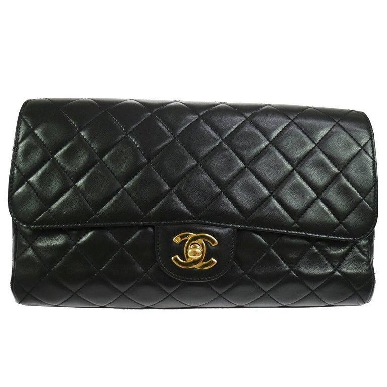 Chanel Black Lambskin Gold Top Handle Envelope Evening