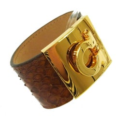 Salvatore Ferragamo Snakeskin Lizard Gold Buckle Charm Evening Cuff Bracelet