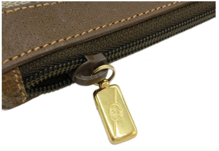 Brown Gucci Monogram GG Men's Portfolio Travel iPad Laptop Travel Envelope Clutch Bag For Sale