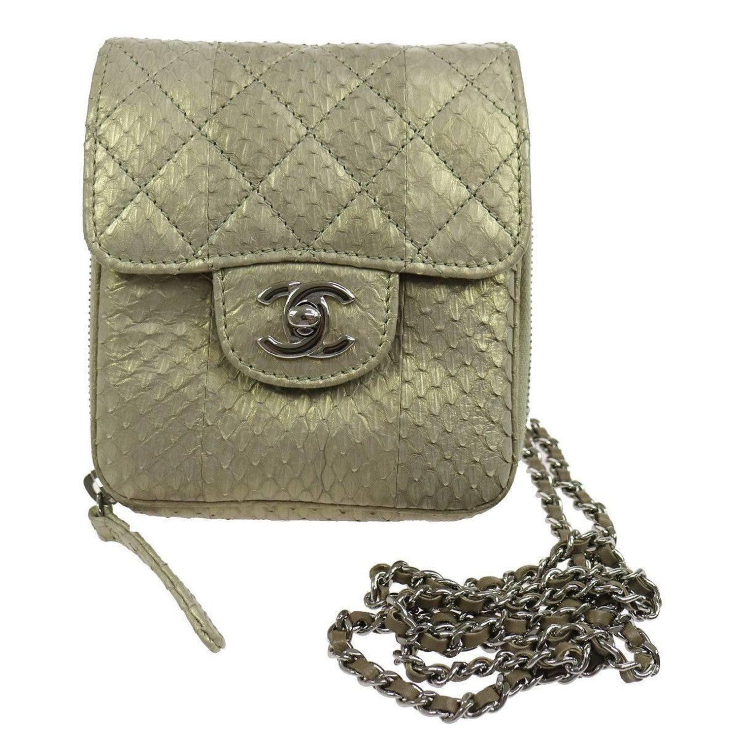 967dd01959cd Chanel Python Iridescent Evening Wallet on Chain WOC Crossbody Shoulder  Flap Bag For Sale at 1stdibs