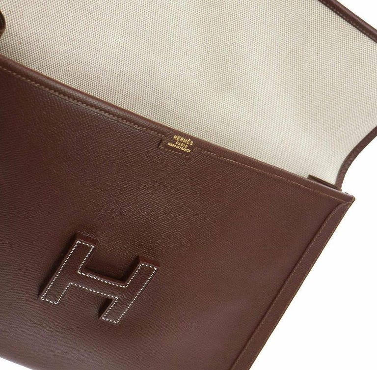 Black Hermes Like New Chocolate Leather Stitch H Envelope Evening Clutch Flap Bag For Sale
