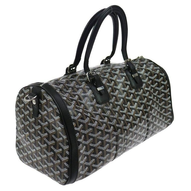 affordable goyard new black monogram mens travel carryall duffle weekender  top handle bag monogram canvas leather silver with go yard 10e441954928c