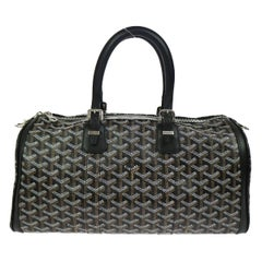 Goyard Black Monogram Men's New Travel Carryall Duffle Weekender Top Handle Bag