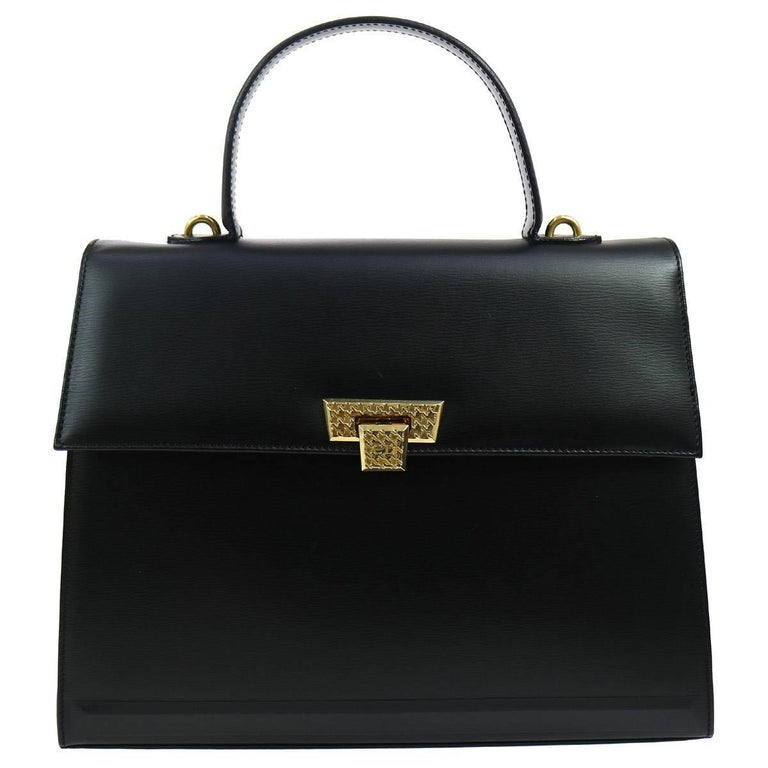 Christian Dior Black Leather Kelly Style Top Handle Satchel Evening Flap Bag