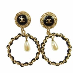 Chanel Gold Filigree Pearl Tear Drop Leather Chain Evening Earrings in Box