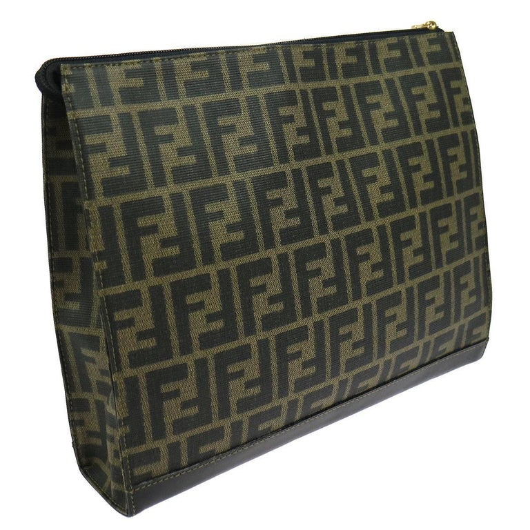 Fendi Brown Green Monogram Canvas Tech iPad Envelope Evening Clutch Bag In Excellent Condition For Sale In Chicago, IL