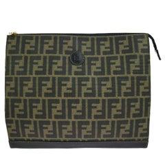 Fendi Brown Green Monogram Canvas Tech iPad Envelope Evening Clutch Bag