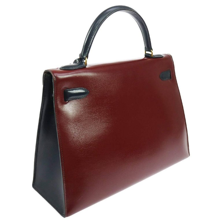 Black Hermes Kelly 32 Sellier Bordeaux Green Blue Leather Top Handle Satchel Flap Bag For Sale