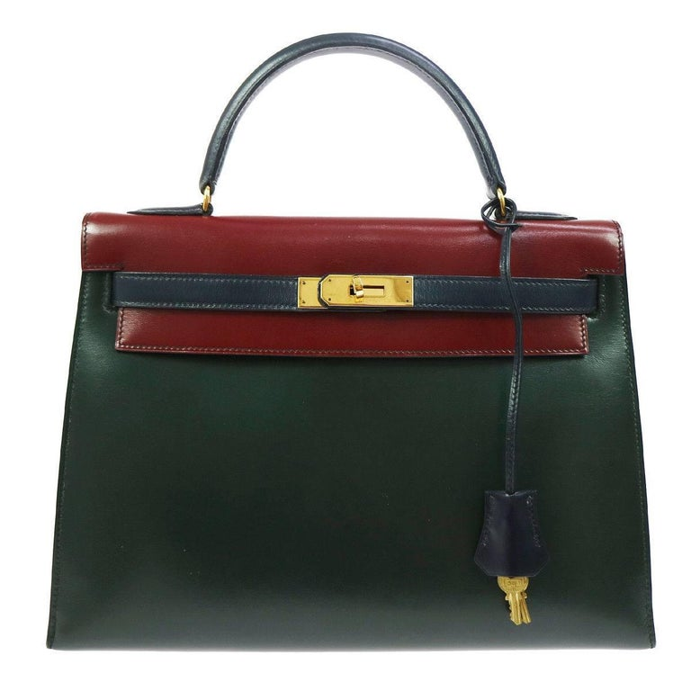 Hermes Kelly 32 Sellier Bordeaux Green Blue Leather Top Handle Satchel Flap Bag For Sale
