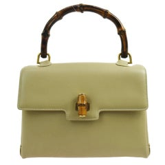 Gucci Leather Bamboo Top Handle Satchel Kelly Style Evening Bag