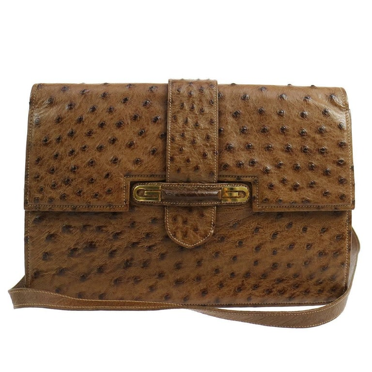 Gucci Cognac Ostrich Leather 2 in 1 Evening Clutch Shoulder Flap Bag