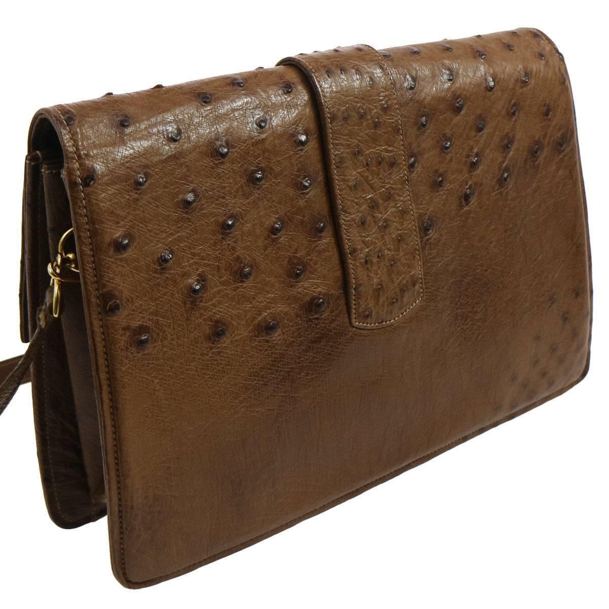 Gucci Cognac Ostrich Leather 2 In 1 Evening Clutch Shoulder Flap Bag QJ8SHsi