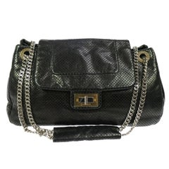 Chanel 2.55 Black Leather Gold Silver Evening Shoulder Flap Bag