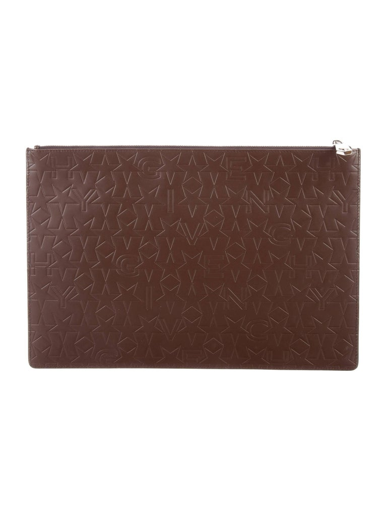 Givenchy New Brown Leather Logo iPad Tech Travel Envelope Clutch Bag in Box 3