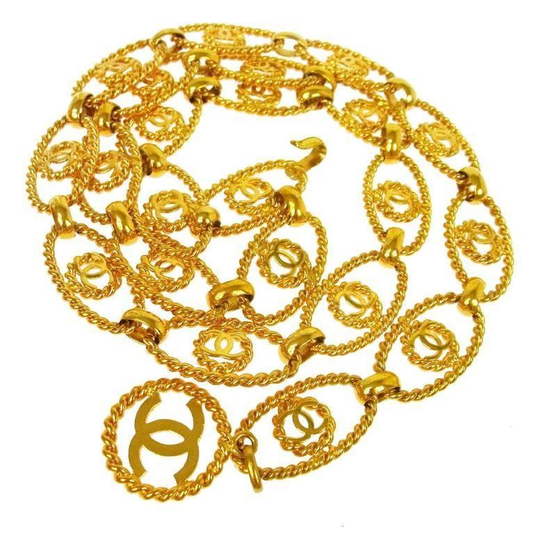 Chanel Metal Gold Textured Logo Evening Waist Belt