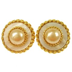 Chanel Gold Chain Pearl Button Stud Evening Earrings