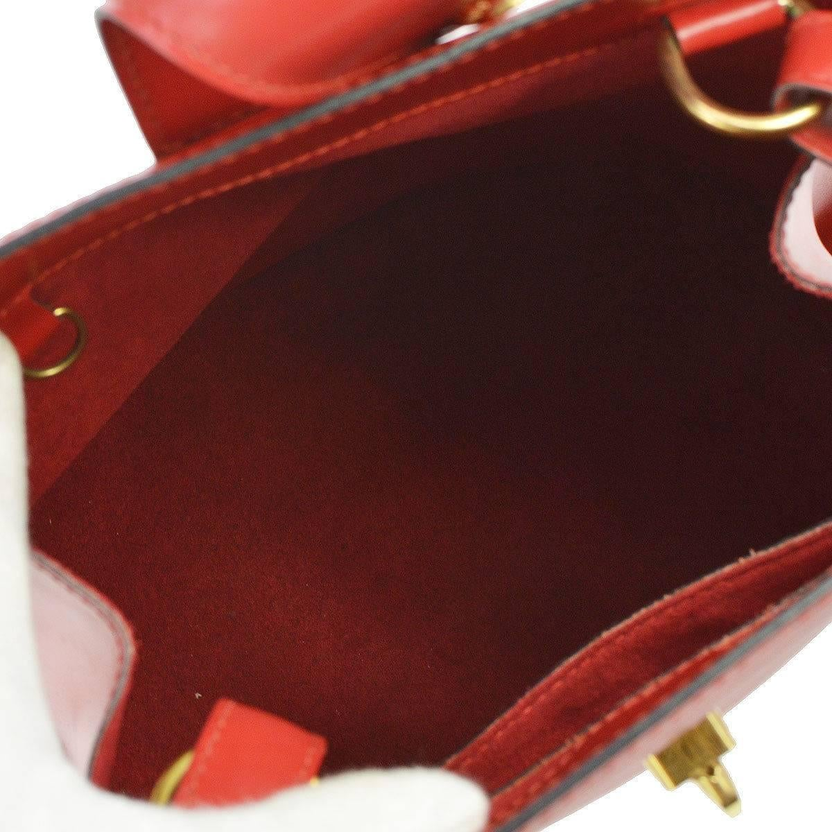 Louis Vuitton Red Leather Gold Evening Bucket Shoulder Bag zdqBEvFVhC