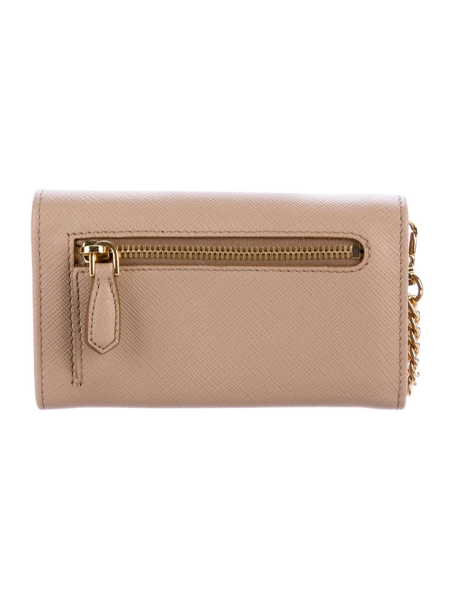 8589cf8e0cc7c2 ... new style prada new nude leather gold 2 in 1 wallet on chain woc clutch  flap