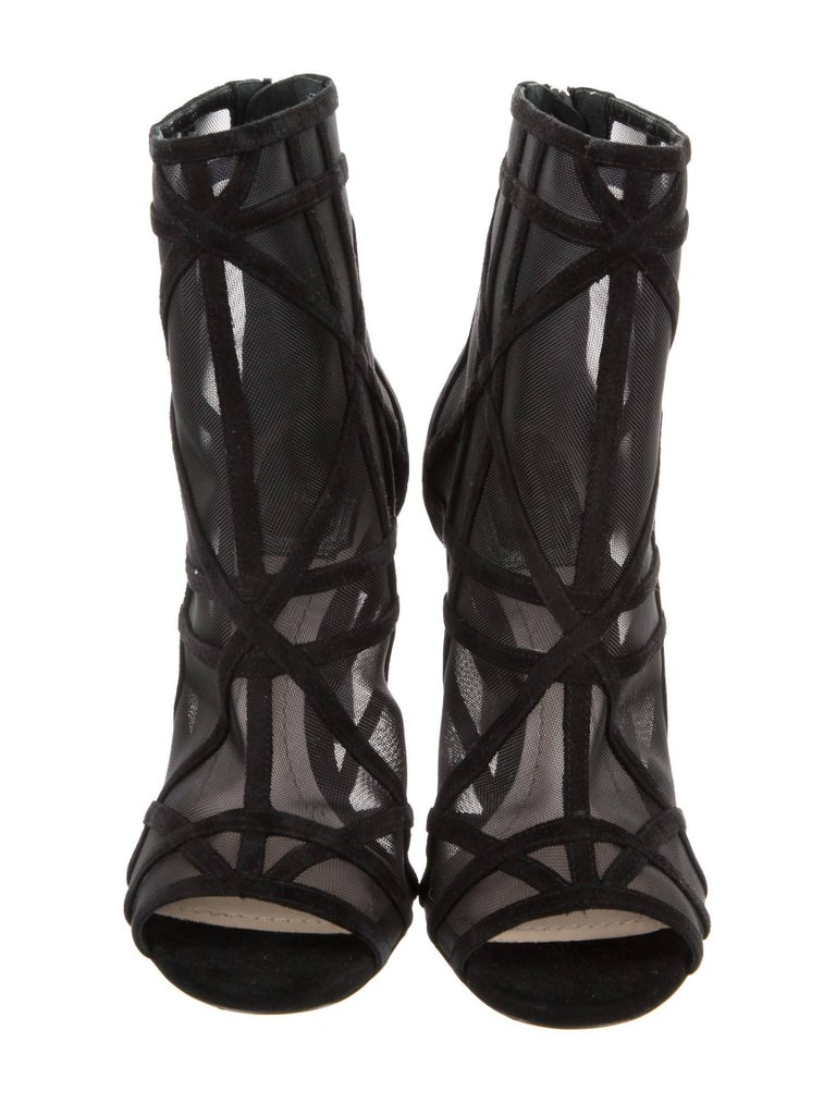 Christian Dior New Black Suede Cut Out Ankle Boots Booties