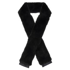 Giuseppe Zanotti New Black Rabbit Fur Men's Women's Outerwear Long Scarf in Box