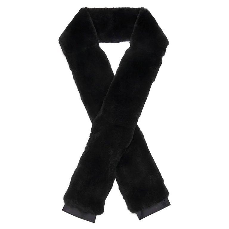 Giuseppe Zanotti New Black Rabbit Fur Men's Women's Outerwear Long Scarf in Box