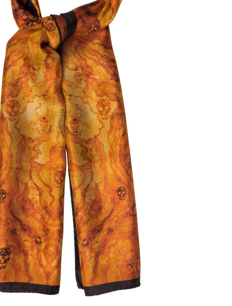 "Alexander McQueen New Cognac Black Silk Men's Women's Skull Outerwear Scarf  Silk Made in Italy Measures 25"" W x 56"" L"