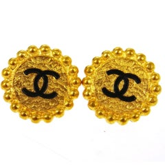Chanel Gold Textured Round Black Charm Stud Evening Earrings