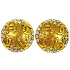 Chanel Gold Textured Rhinestone Evening Stud Round Statement Earrings