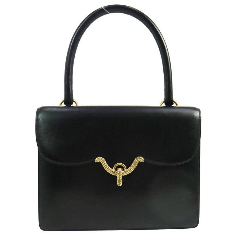 Hermes Black Leather Gold Braided Evening Top Handle Satchel Shoulder Flap Bag