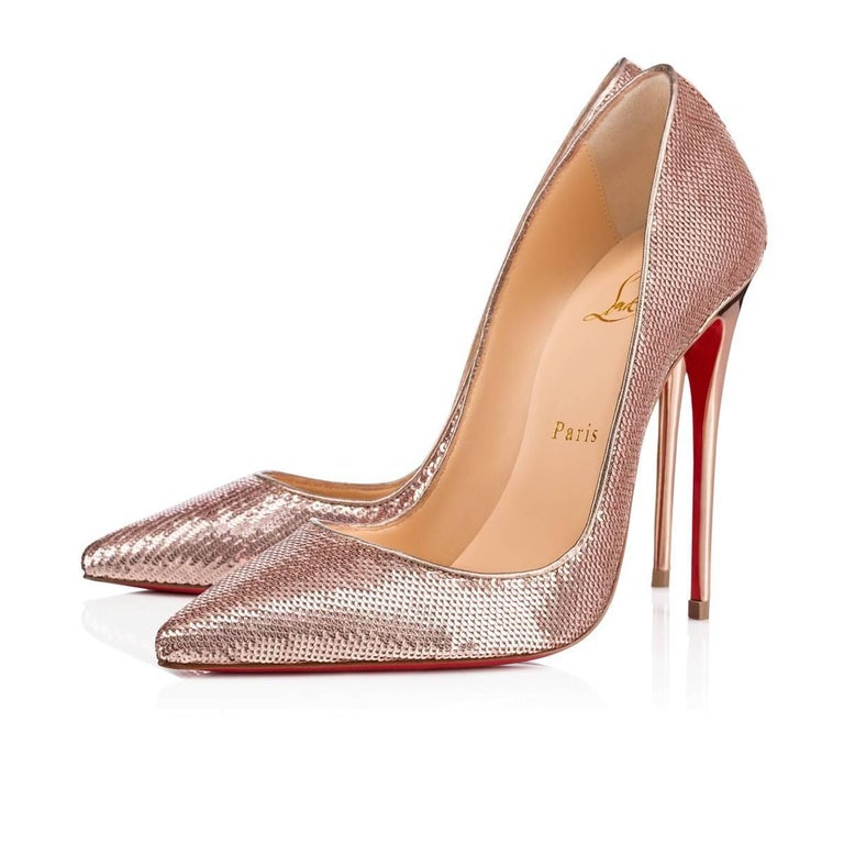 83e2f257d97 Christian Louboutin New Rose Gold Pink Sequin So Kate High Heels ...