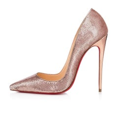 Christian Louboutin New Rose Gold Pink Sequin So Kate High Heels Pumps in Box